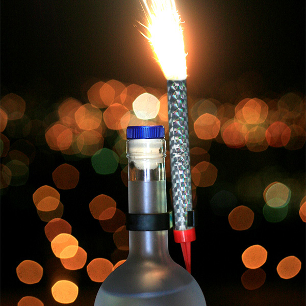 Image of a 5 Inch Bottle Sparkler Attached and Performing