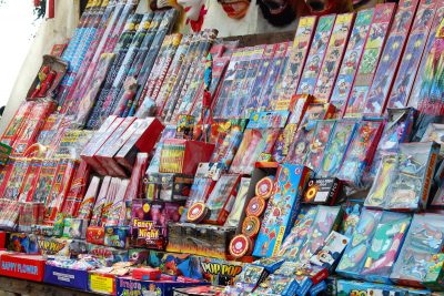 Image of a Fireworks Store with Bottle Sparklers on the Shelves