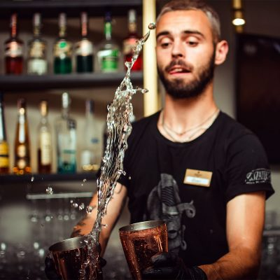 Image of a Bartender Doing Tricks