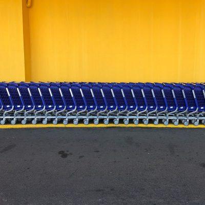 Image of Walmart Shopping Carts Outside Store